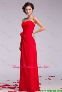 Gorgeous Strapless Hand Made Flowers Mother Dresses in Red