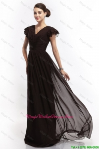 Hot Sale V Neck Ruching Empire Brush Train Mother Dresses in Black