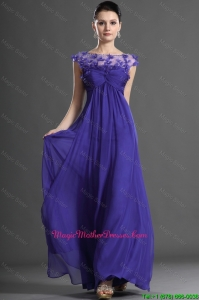 Luxurious Bateau Beading Mother Dress in Royal Blue for 2016