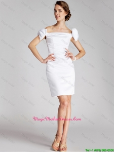 Pretty Bowknot Off the Shoulder Mother Dresses in White