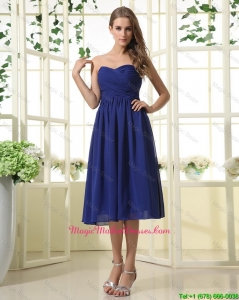 Simple Royal Blue Mother Dresses with Ruching for 2016