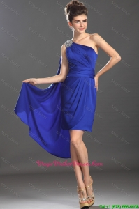 Beautiful Column One Shoulder Blue Mother Dresses with Beading
