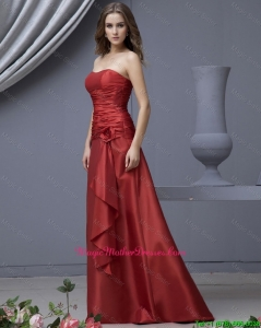 Modern Column Strapless Mother Dresses with Ruching and Hand Made Flowers