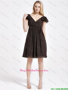 2016 Exclusive V Neck Sashes Short Mother Dresses in Brown