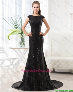 Beautiful Column Bateau Brush Train Sequins Mother Dresses in Black