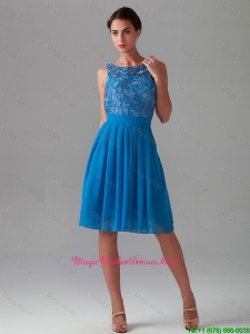 Beautiful Empire Bateau Blue Mother of bride Dresses with Lace