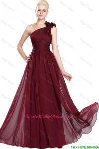 Beautiful Ruched Burgundy Mother Gowns with One Shoulder