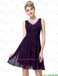 Beautiful V Neck Dark Purple Mother Dresses with Ruching