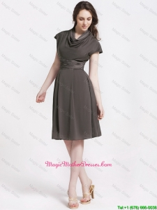 Discount High Neck Knee Length Mother Dresses in Chocolate