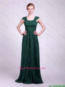 Hot Sale Straps Brush Train Mother Dresses in Dark Green