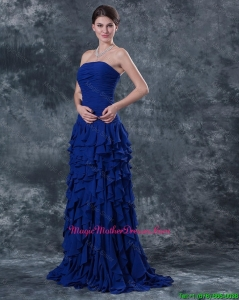 Luxurious Strapless Blue Mother Dresses with Ruffles and Ruching