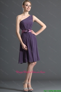Most Popular Belt and Hand Made Flower Purple Mother of bride Dresses for 2016