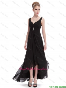 Popular Beaded Straps Black Mother Dresses with High Low