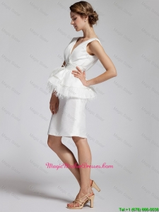 Popular White Column V Neck Mother Dresses with Feather