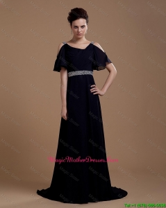 Pretty Empire Straps Mother of bride Dresses with Brush Train in Navy Blue