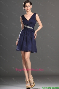 2016 Latest V Neck Short Navy Blue Mother Of The Bride Dresses with Beading