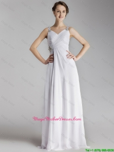 Beautiful Straps Brush Train Mother of bride Gowns with Side Zipper