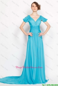 Classical V Neck Brush Train Ruched Mother Of The Bride Dresses in Aqua Blue