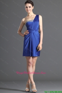 Custom Made One Shoulder Short Beading Mother Of The Bride Dresses in Royal Blue