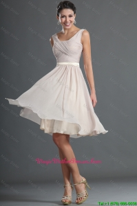 Customized Short Ruching and Belt Mother Of The Bride Dresses in Champagne