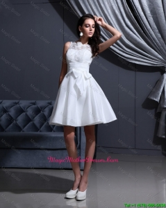 New Style White A Line Mother Of The Bride Gowns with Lace and Bowknot