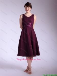 Perfect V Neck Tea Length Mother Of The Bride Dresses with Ruching