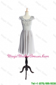 Custom Made Scoop Short Ruffles and Pleats Classic The Bride Dresses in Grey