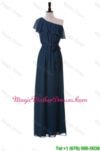 Exclusive One Shoulder Sashes and Ruffles Bride Dresses in Navy Blue