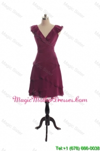 The Super Hot V Neck Burgundy Short Designer The Bride Dresses with Ruffles