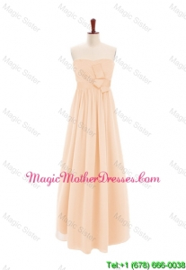 2016 Customize Sweetheart Bowknot Peach Bride Dresses in Chiffon