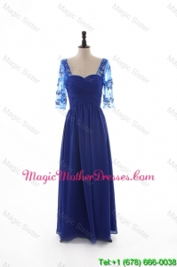 2016 Fall Empire Sweetheart Ruching Designer Bride Dresses with Half Sleeves in Blue