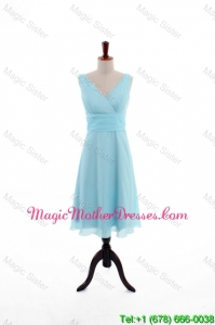 Custom Made Empire V Neck Knee Length Bride Dresses in Light Blue