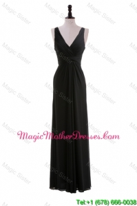 Discount Empire V Neck Ruching Black Bride Dresses for Holiday