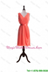 Gorgeous Empire V Neck Designer Bride Dresses with Sashes in Watermelon