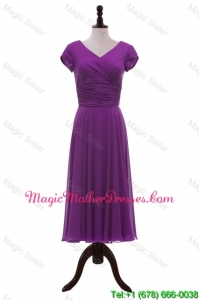 Most Popular V Neck Pleats Elegant Mother Of The Bride Dresses in Eggplant Purple