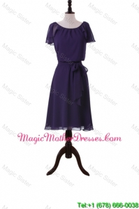 Simple Short Purple Designer Bride Dresses with Sashes and Ruffles