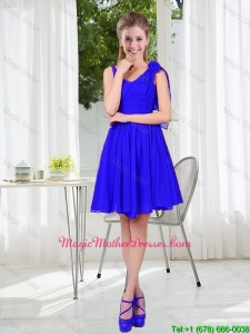 2016 Fall Straps Short Mother Of The Bride Dresses in Royal Blue