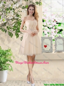 Beautiful Short Champagne Mother Of The Bride Dresses with One Shoulder