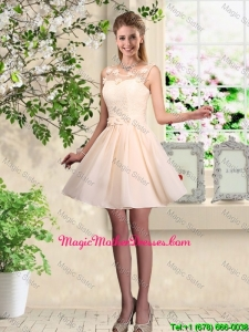 Cheap A Line Scoop Champagne Mother Of The Bride Dresses with Appliques
