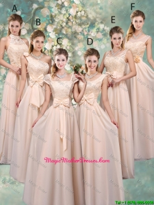 Luxurious Champagne Mother Of The Bride Dresses with Lace and Bowknot