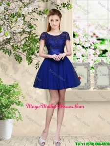 Sturning Bateau Short Royal Blue Mother Of The Bride Dresses with Cap Sleeves