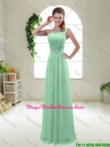 Classical Apple Green One Shoulder Mother Of The Bride Dresses with Zipper up
