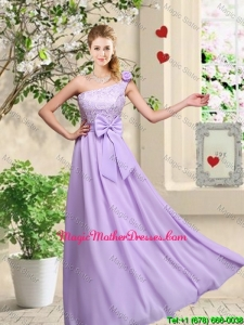 Fashionable One Shoulder Mother Of The Bride Dresses with Hand Made Flowers