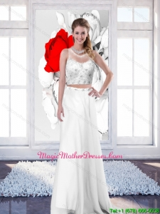 2016 New Style Empire Scoop White Mother Of The Bride Dresses with Brush Train