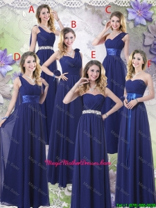 New Style Empire Floor Length Mother Of The Bride Dresses in Navy Blue