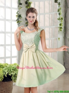2016 Summer A Line Straps Lace Mother Of The Bride Dresses with Bowknot