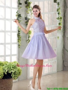 Beautiful A Line High Neck Lace Mother Of The Bride Dresses with Lavender