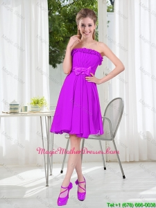 Classic A Line Strapless Bowknot Short Mother Of The Bride Dresses