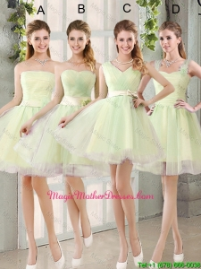 Custom Made Mini Length Mother Of The Bride Dresses in Yellow Green