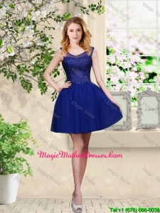 Decent Short Appliques Scoop Mother Of The Bride Dresses in Royal Blue